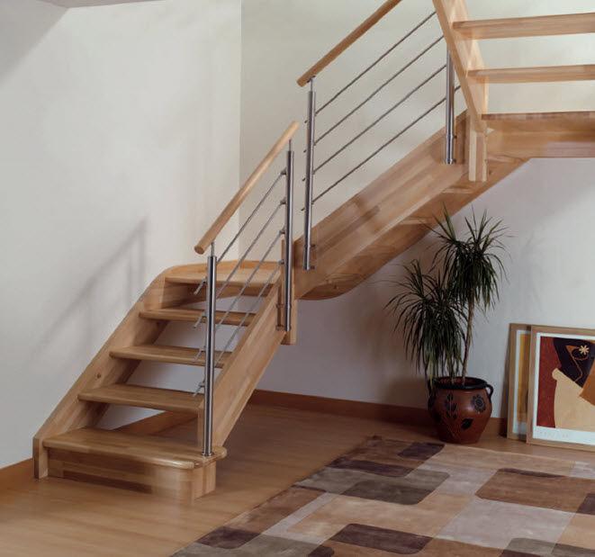 Escalera en u barandilla de vidrio pasos escalerau for Escalera tipo u